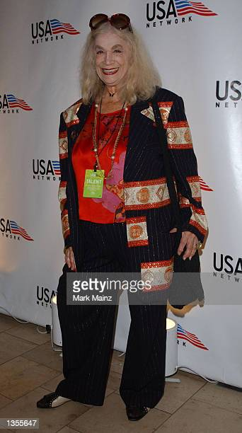 """Actress Sylvia Miles poses for photographers at the opening night of the """"2002 U.S. Open USA Network Party"""" August 26, 2002 at the Arthur Ashe..."""