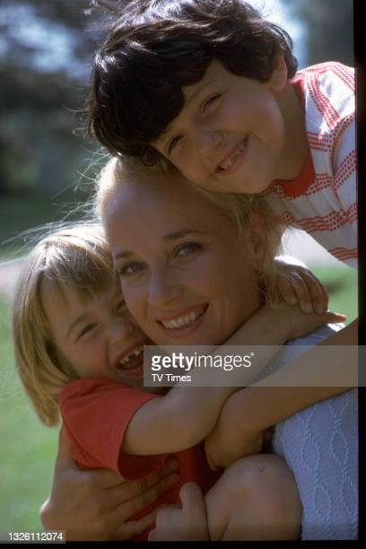 Actress Sylvia Syms photographed with her children Beattie and Benjamin, circa 1968.
