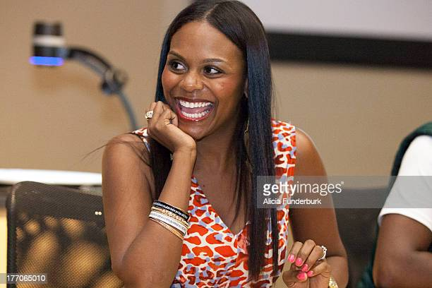 Actress Tabitha Brown attends the Laughing To The Bank movie promo visit at North Carolina Agricultural Technical State University on August 20 2013...