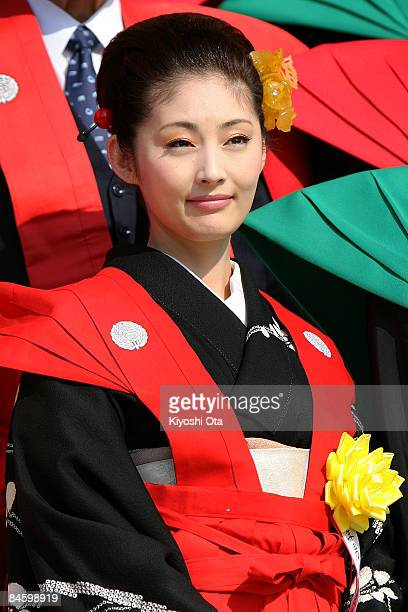 Actress Takako Tokiwa attends a beanscattering ceremony at Shinshoji Temple on February 3 2009 in Narita Chiba Japan The ceremony is held all over...