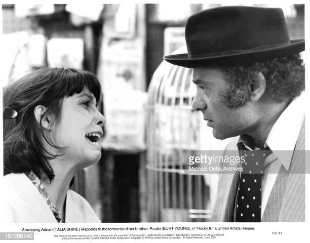 Actress Talia Shire and actor Burt Young on set of the United Artist movie Rocky II in 1979