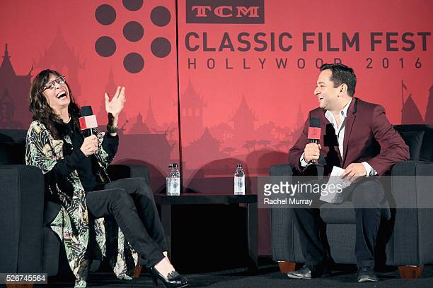 Actress Talia Shire and columnist Scott Feinberg speak onstage at the 'Rocky' screening during day 3 of the TCM Classic Film Festival 2016 on April...