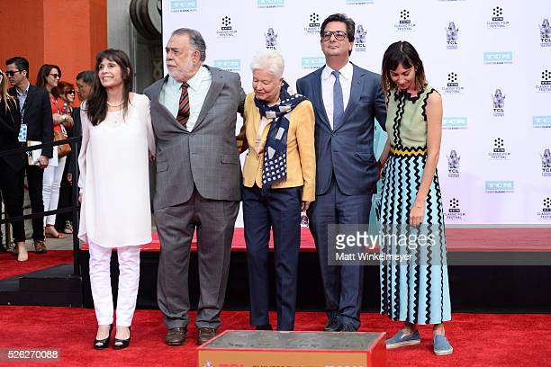 Actress Talia Shire honoree Francis Ford Coppola directors Eleanor Coppola Roman Coppola and Gia Coppola pose for a photo as TCM honors Academy Award...