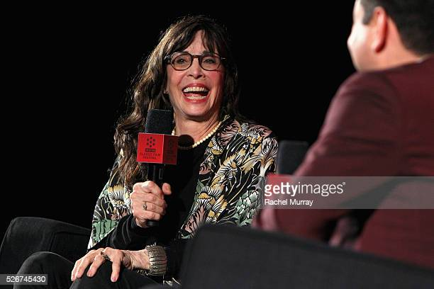Actress Talia Shire speaks onstage at the 'Rocky' screening during day 3 of the TCM Classic Film Festival 2016 on April 30 2016 in Los Angeles...
