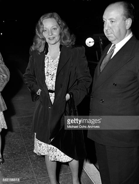 Actress Tallulah Bankhead poses with director Alfred Hitchcock during the filming of Lifeboat in Los Angeles California