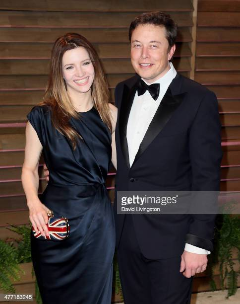 Actress Talulah Riley and CEO of Tesla Motors Elon Musk attend the 2014 Vanity Fair Oscar Party hosted by Graydon Carter on March 2 2014 in West...