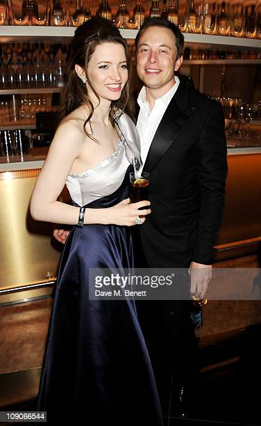 Actress Talulah Riley and Elon Musk celebrate at The Weinstein Company and Momentum Pictures' post-BAFTA party held at W London-Leicester Square on...
