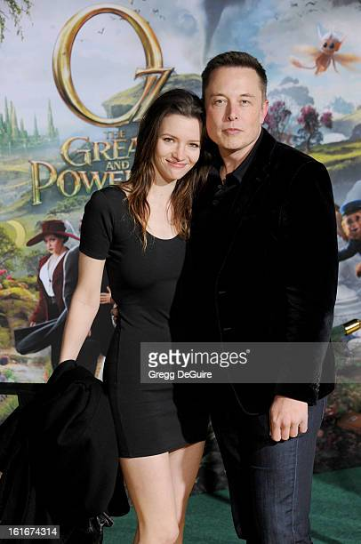 """Actress Talulah Riley and Elon Musk, co-founder of Paypal, arrive at the Los Angeles premiere of """"Oz The Great and Powerful"""" at the El Capitan..."""