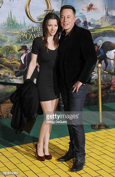 Actress Talulah Riley and Elon Musk cofounder of Paypal arrive at the Los Angeles premiere of Oz The Great and Powerful at the El Capitan Theatre on...