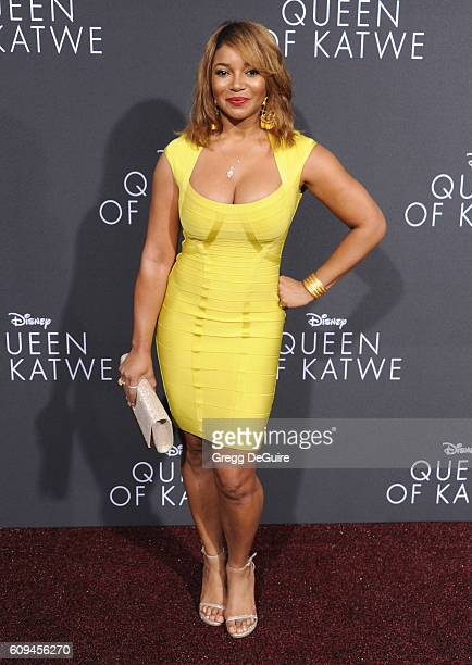"""Actress Tamala Jones arrives at the premiere of Disney's """"Queen Of Katwe"""" at the El Capitan Theatre on September 20, 2016 in Hollywood, California."""