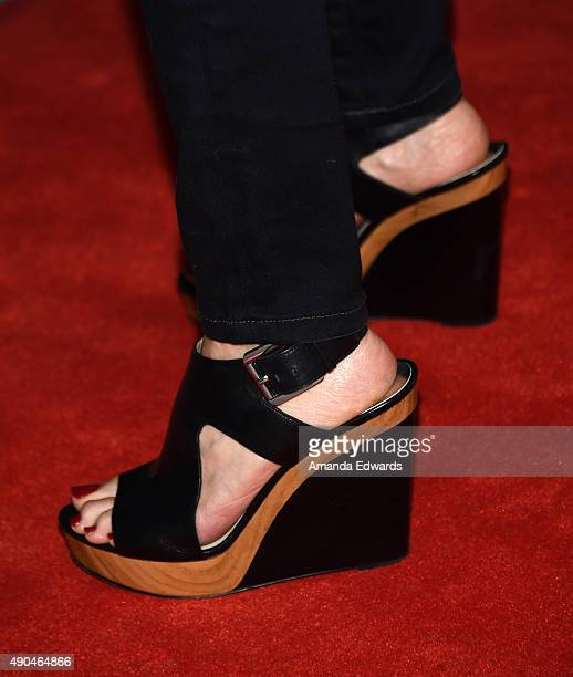 Actress Tamara Braun shoe detail arrives at the premiere party for Fuse's 'Transcendent' at The Village at Ed Gould Plaza on September 28 2015 in Los...