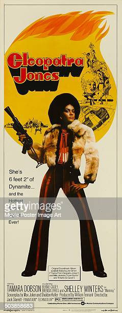 Actress Tamara Dobson on the poster for the movie 'Cleopatra Jones' 1973