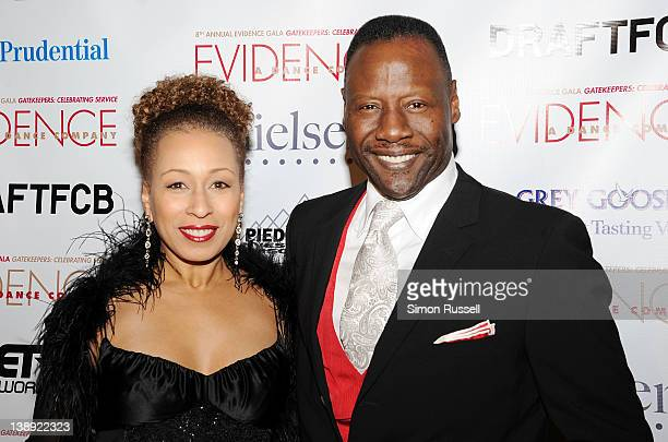 Actress Tamara Tunie and Gregory Generet attend the 8th Annual Evidence Gala at the Manhattan Center Grand Ballroom on February 13 2012 in New York...