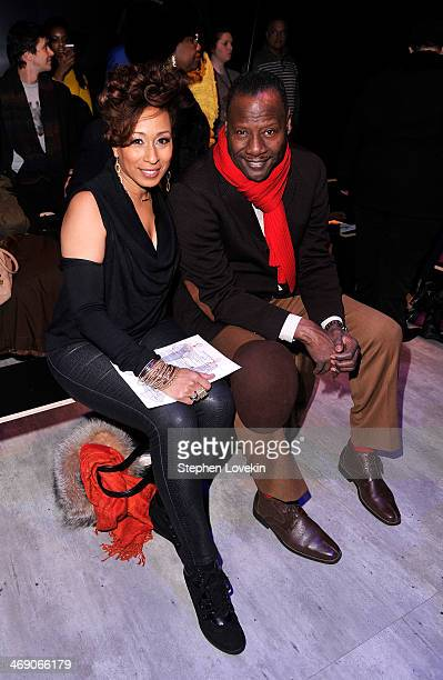 Actress Tamara Tunie and husband Gregory Generet attend the B Michael America fashion show during MercedesBenz Fashion Week Fall 2014 at The Pavilion...