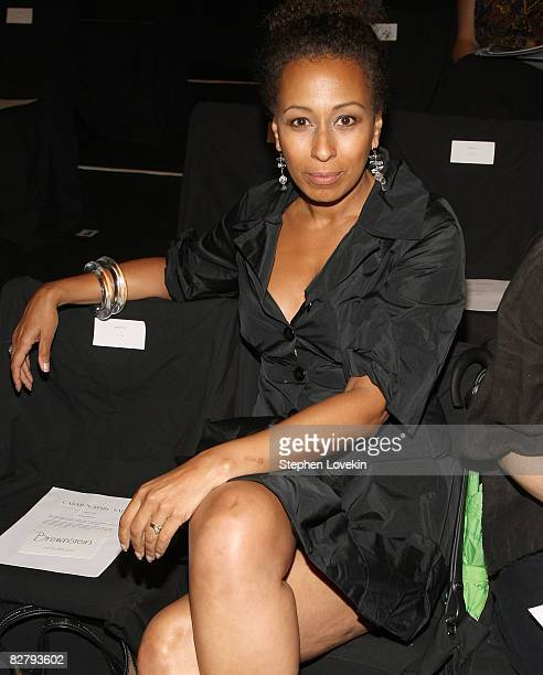 Actress Tamara Tunie attends the Carmen Marc Valvo Spring 2009 fashion show during MercedesBenz Fashion Week at The Tent in Bryant Park on September...