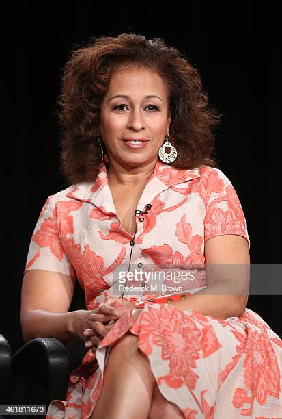 Actress Tamara Tunie speaks onstage during the 'Sundance Channel - The Red Road' panel discussion at the AMC/Sundance portion of the 2014 Winter...