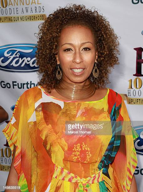 Actress Tamara Tunie walks the blue carpet at the 10th Annual Ford Hoodie Awards at MGM Garden Arena on August 4, 2012 in Las Vegas, Nevada.
