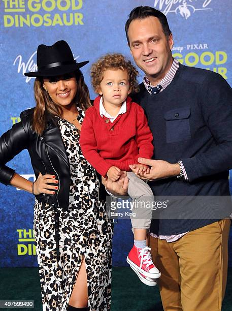 Actress Tamera Mowry son Aden John Tanner Housley and husband Adam Housley attend the premiere of DisneyPixar's 'The Good Dinosaur' at the El Capitan...