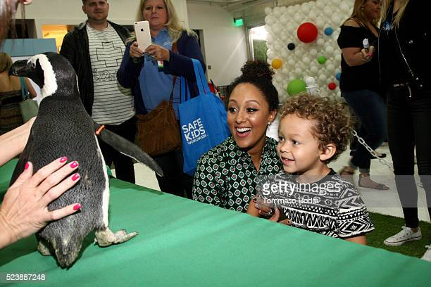 Actress Tamera MowryHousley and Aden Housley attend Safe Kids Day 2016 presented by Nationwide at Smashbox Studios on April 24 2016 in Los Angeles...