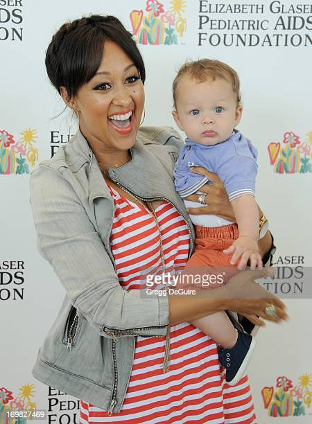 Actress Tamera MowryHousley and son Aden Housley arrive at the Elizabeth Glaser Pediatric AIDS Foundation's 24th Annual 'A Time For Heroes' at...