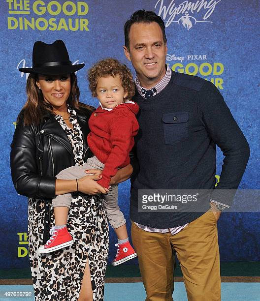 Actress Tamera MowryHousley son Aden John Tanner Housley and husband Adam Housley arrive at the premiere of DisneyPixar's 'The Good Dinosaur' on...