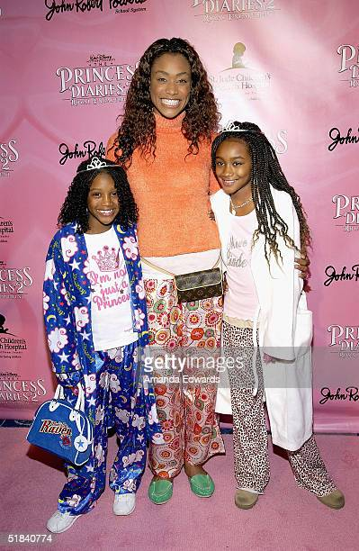 Actress Tami Anderson and her daughters Kenni and Lyric arrive at The Princess Diaries 2 Royal Enagement DVD Pajama Party on December 8 2004 at the...