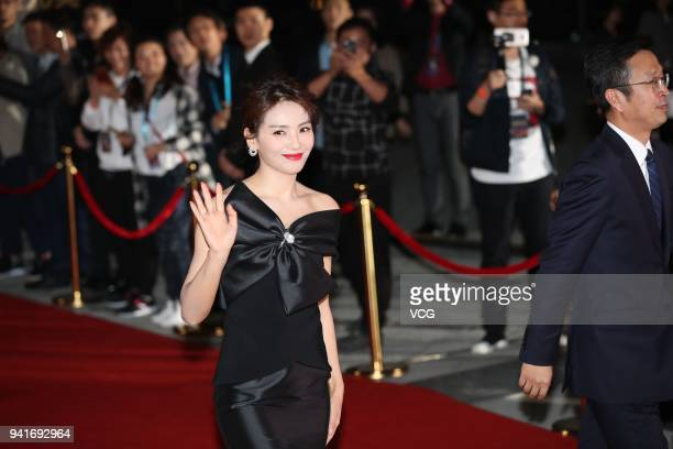 Actress Tamia Liu Tao arrives at the red carpet of the 31th Flying Apsaras Awards Ceremony on April 3, 2018 in Ningbo, Zhejiang Province of China.