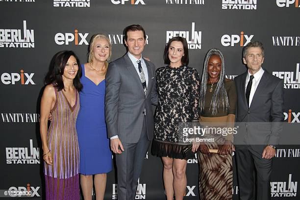 Actress Tamlyn Tomita writer Caroline Goodall actors Richard Armitage Michelle Forbes April Grace and Leland Orser attends Premiere Of EPIX's 'Berlin...