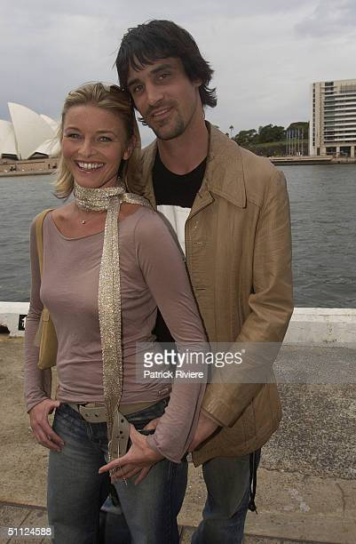 Actress Tammy MacIntosh with Ben Tari of the cast of the Australian TV medical drama 'All Saints' attending lunch at Wildfire restaurant in the...
