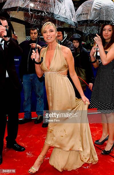 """Actress Tamzin Outhwaite arrives at the """"The British Academy Television Awards"""" at the Grosvenor House Hotel on April 18, 2004 in London."""