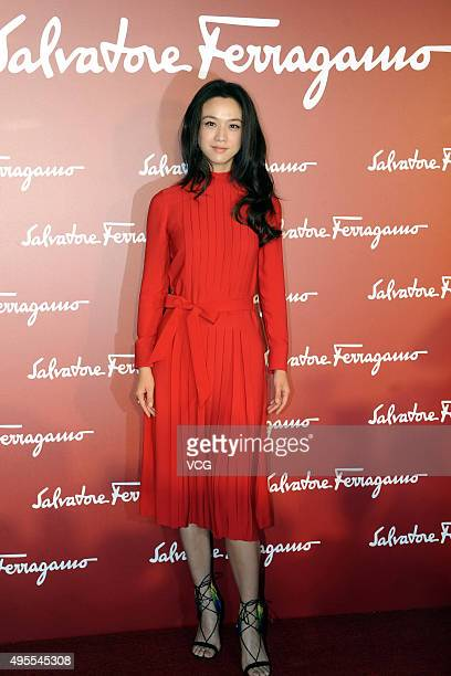 Actress Tang Wei attends a ribboncutting ceremony for the opening activity of Salvatore Ferragamo at Shanghai Centre on November 3 2015 in Shanghai...
