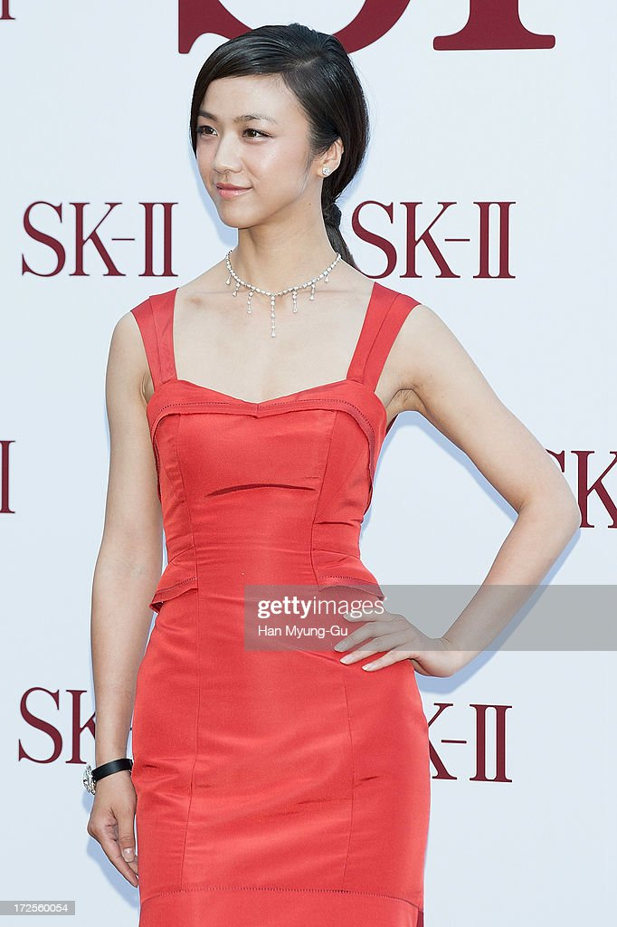 Actress Tang Wei from China poses for the photogrpahs during the SK-II Honoring The Spirit Of Discovery event at the Raum on July 3, 2013 in Seoul, South Korea.