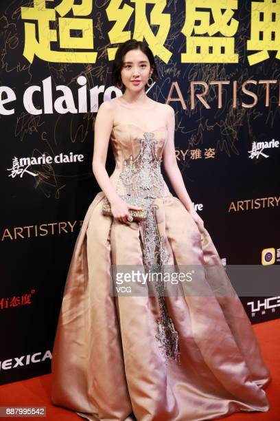 Actress Tang Yixin arrives on the red carpet of 2017 Marie Claire Style China Artistry Party on December 7 2017 in Beijing China