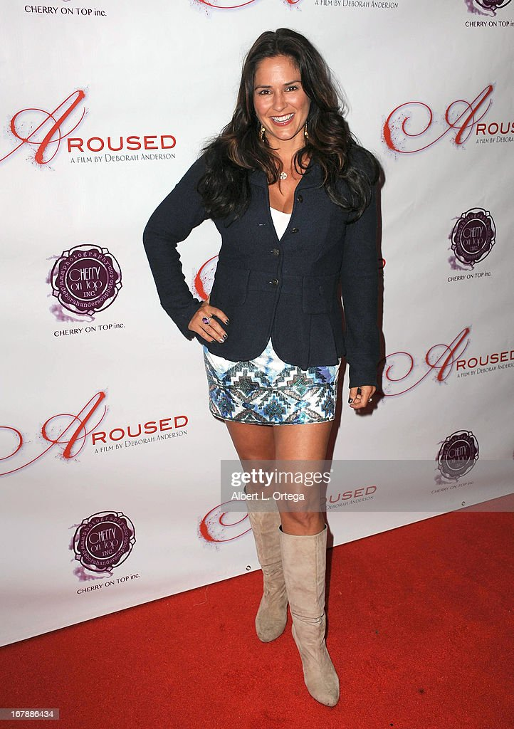 Actress Tanya Memme arrives for the Premiere Of 'Aroused' held at Landmark Nuart Theatre on May 1, 2013 in Los Angeles, California.