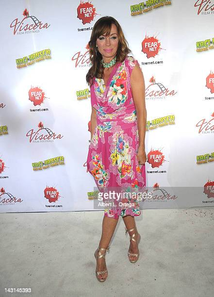 Actress Tanya Newbould arrives for the cast/crew Screening Of Among Friends held at the Jon Lovitz Comedy Club on April 17 2012 in Universal City...