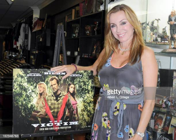 Actress Tanya Newbould participates in the DVD Signing for Anchor Bay's The Victim Michael Biehn directorial debut held at Dark Delicacies on...