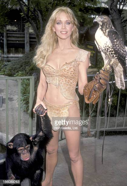 Actress Tanya Roberts at an Exclusive Photo Session to Promote Her New Movie 'Sheena Queen of the Junge' on November 2 1983 at Anaheim Disneyland...