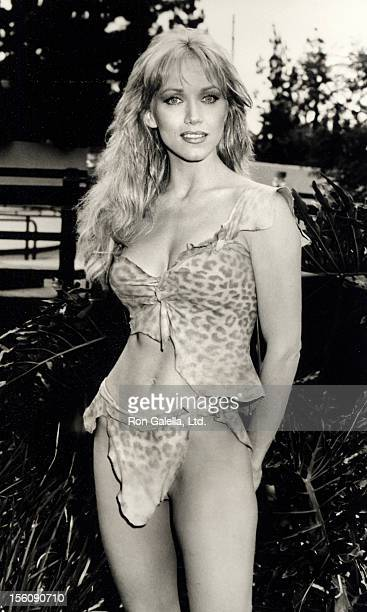 Actress Tanya Roberts on location filming a movie on November 2 1983 at Disneyland Hotel in Anaheim California