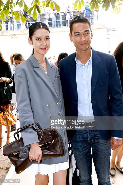 Actress Tao Okamoto and companion Tenzin Wild arriving at the Viktor Rolf show as part of the Paris Fashion Week Womenswear Spring/Summer 2014 held...