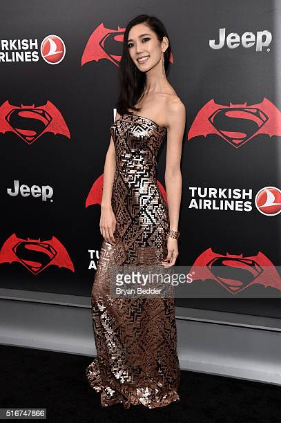 Actress Tao Okamoto attends the launch of Bai Superteas at the Batman v Superman premiere on March 20 2016 in New York City