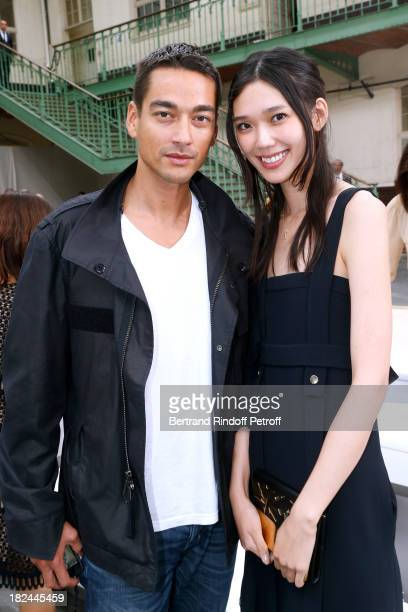 Actress Tao Okamoto 'R and companion Tenzin Wild attend Chloe show as part of the Paris Fashion Week Womenswear Spring/Summer 2014 held at Lycee...