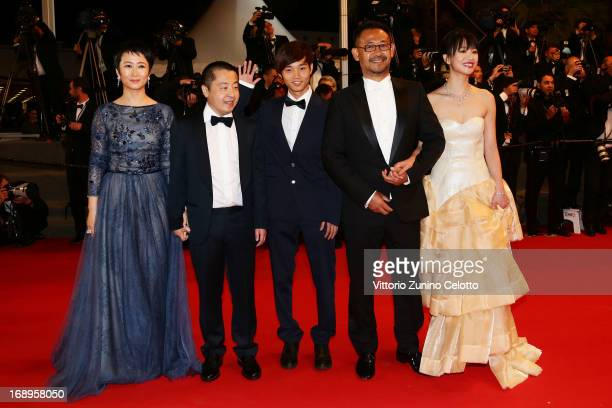 Actress Tao Zhao director Jia Zhangke actors Lanshan Luo and Jiang Wu actress Meng Li attend the Premiere of 'Tian Zhu Ding' during The 66th Annual...