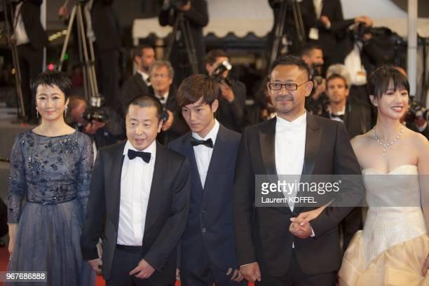 Actress Tao Zhao, director Jia Zhangke, actors Lanshan Luo and Jiang Wu, actress Meng Li attend the Premiere of 'Tian Zhu Ding' during The 66th...