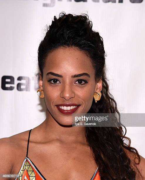 Actress Tara A Nicolas attends 'The Liquid Plane' Opening Night Party at Signature Theatre Company's The Pershing Square Signature Center on March 8...