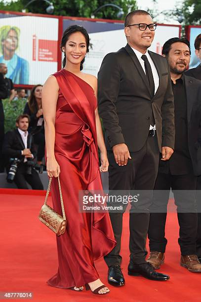 Actress Tara Basro and director Joko Anwar attend a premiere for 'A Copy Of My Mind' during the 72nd Venice Film Festival at Sala Darsena on...