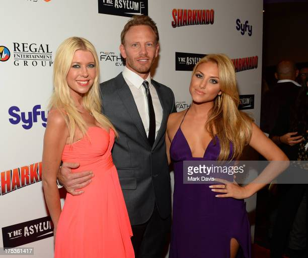 Actress Tara Reid actor Ian Ziering and actress Cassie Scerbo attend 'Fathom Events Presents The Premiere Of The Asylum And Syfy's 'Sharknado'...