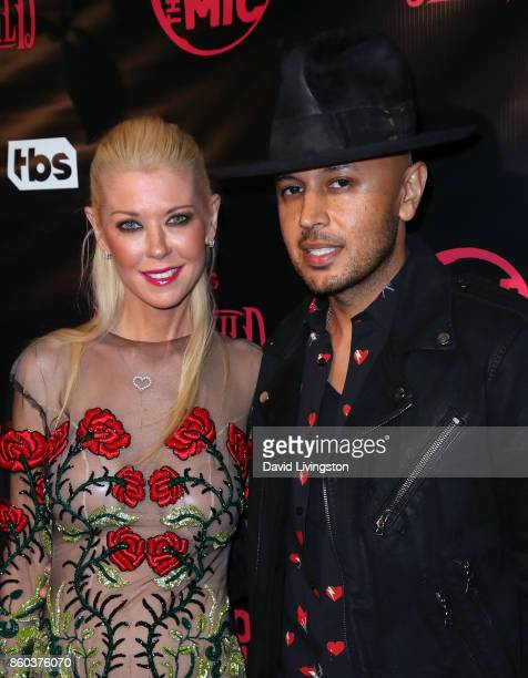 Actress Tara Reid and cofounder and president of engageBDR Ted Dhanik pose at the premiere for TBS's 'Drop The Mic' and 'The Joker's Wild' at The...