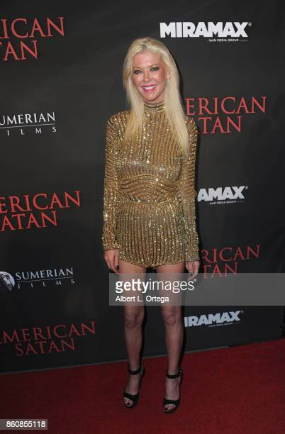 Actress Tara Reid arrives for the Premiere Of Miramax's 'American Satan' held at AMC Universal City Walk on October 12 2017 in Universal City...