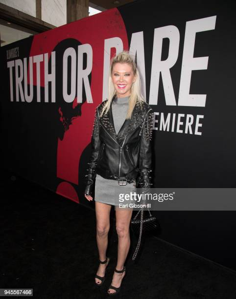 Actress Tara Reid attends the premiere of Universal Pictures 'Blumhouse's Truth Or Dare' at ArcLight Cinemas Cinerama Dome on April 12 2018 in...