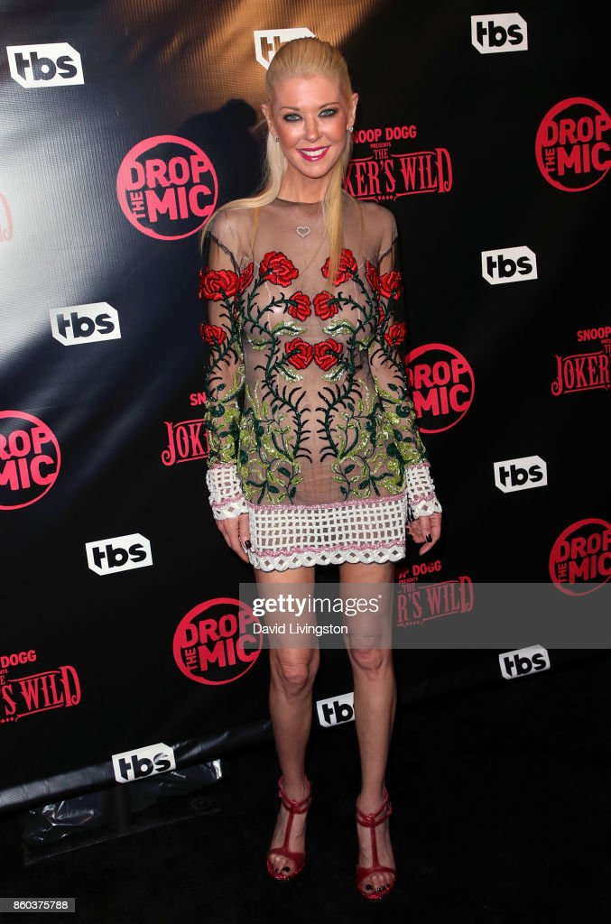 Actress Tara Reid poses at the premiere for TBS's 'Drop The Mic' and 'The Joker's Wild' at The Highlight Room on October 11, 2017 in Los Angeles, California.